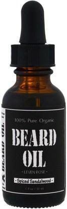 Leven Rose, 100% Pure Organic Beard Oil, Spiced Sandalwood, 1 fl oz (30 ml) ,الصحة، الرجال، الحلاقة