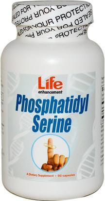 Life Enhancement, Phosphatidyl Serine, 90 Capsules ,الصحة، اضطراب نقص الانتباه، إضافة، أدهد، الدماغ، الذاكرة