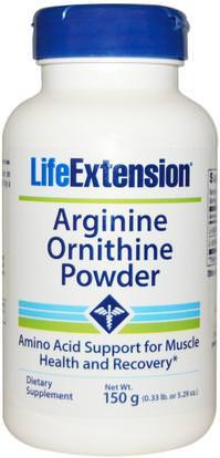 Life Extension, Arginine Ornithine Powder, 5.29 oz (150 g) ,المكملات الغذائية، والأحماض الأمينية، ل أرجينين، ل أرجينين + ل أورنيثين