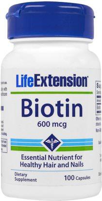 Life Extension, Biotin, 600 mcg, 100 Capsules ,الفيتامينات، فيتامين ب، البيوتين