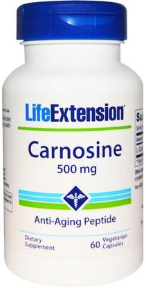 Life Extension, Carnosine, 500 mg, 60 Veggie Caps ,المكملات الغذائية، والأحماض الأمينية، ل كارنوزين