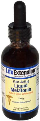 Life Extension, Fast-Acting Liquid Melatonin, Natural Citrus-Vanilla Flavor, 3 mg, 2 fl oz (59 ml) ,المكملات الغذائية، الميلاتونين السائل