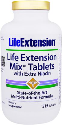Life Extension, Mix Tablets with Extra Niacin, 315 Tablets ,الفيتامينات، فيتامين ب، فيتامين b3، فيتامين b3 - النياسين، الفيتامينات