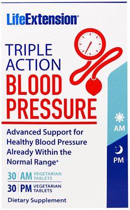Life Extension, Triple Action Blood Pressure, AM/PM, 60 Veggie Caps ,والصحة، وضغط الدم