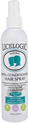 Logic Products, LiceLogic, Repel Conditioning Hair Spray, Rosemary Mint, 8 fl oz (236 ml) ,حمام، الجمال، دقة بالغة، فروة الرأس