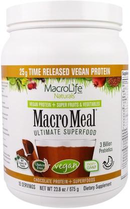 Macrolife Naturals, MacroMeal, Vegan, Chocolate Protein + Superfoods, 23.8 oz (675 g) ,والمكملات الغذائية، والبروتين، سوبرفوودس