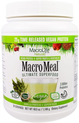 Macrolife Naturals, MacroMeal Ultimate Superfood, Vanilla + Superfoods, 40.5 oz (1,148 g) ,والمكملات الغذائية، والبروتين، سوبرفوودس