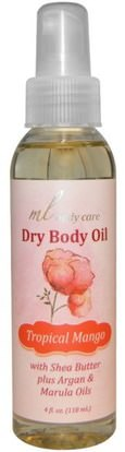 Madre Labs, Dry Body Oil, Tropical Mango, Light and Absorbs Fast with Argan & Marula Oils + Shea Butter, 4 fl. oz. (118 mL) ,حمام، الجمال، بخاخ العطر، مادر مختبرات العناية بالجسم