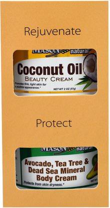 Mason Naturals, Avocado, Tea Tree & Dead Sea Mineral Body Cream + Coconut Oil Beauty Creams, 2 Jars, 2 oz (57 g) Each ,حمام، الجمال، هدية مجموعات