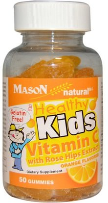 Mason Naturals, Healthy Kids Vitamin C with Rose Hips Extract, Orange Flavored, 50 Gummies ,الفيتامينات، فيتامين ج، فيتامين ج غوميس، صحة الأطفال، أطفال غوميز