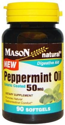 Mason Naturals, Peppermint Oil, 50 mg, 90 Softgels ,الأعشاب، النعناع