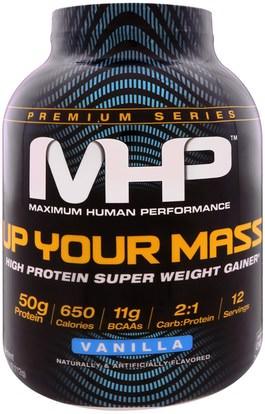 Maximum Human Performance, LLC, Up Your Mass, High Protein Weight Gainer, Vanilla, 4.66 lbs (2,112 g) ,والرياضة، والرياضة