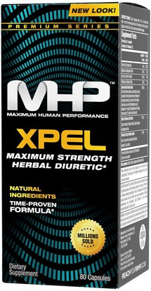 Maximum Human Performance, LLC, Xpel, Maximum Strength Diuretic, 80 Capsules ,والمكملات الغذائية، مدرات البول حبوب الماء، وفقدان الوزن، والنظام الغذائي
