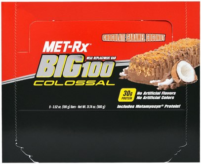 MET-Rx, Big 100 Colossal, Meal Replacement Bar, Chocolate Caramel Coconut, 9 Bars, 3.52 oz (100 g) Each ,والمكملات الغذائية، والحانات الغذائية، والوجبات الخفيفة