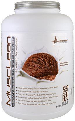 Metabolic Nutrition, MuscLean, Lean Muscle Weight Gainer, Chocolate Milkshake, 5 lbs ,والرياضة، والمكملات الغذائية، بروتين مصل اللبن