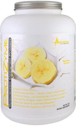 Metabolic Nutrition, ProtiZyme, Specialized Designed Protein, Banana Cream, 5 lb ,والرياضة، والمكملات الغذائية، بروتين مصل اللبن