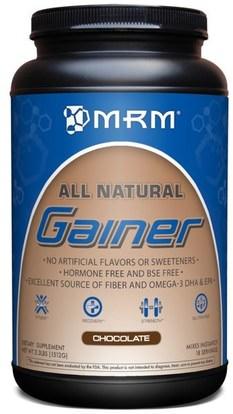 MRM, All Natural, Gainer, Chocolate, 3.3 lbs. (1512 g) ,الرياضة، الوزن الرابح، العضلات