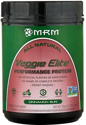 MRM, Veggie Elite, Performance Protein, Cinnamon Bun, 18 oz (510 g) ,والرياضة، والعضلات