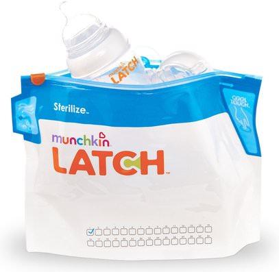 Munchkin, Latch, Sterilizer Bags, 6 Bags ,صحة الأطفال، أغذية الأطفال، تغذية الطفل والتنظيف