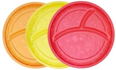 Munchkin, Multi Divided Plates, 3 Pack ,الأطفال الصحة، أطفال الأطعمة، أدوات المطبخ، لوحات الكؤوس السلطانيات