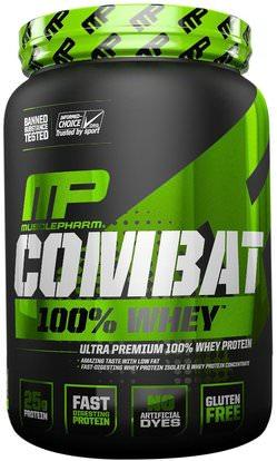 MusclePharm, Combat 100% Whey, Cappuccino, 32 oz (907 g) ,المكملات الغذائية، بروتين مصل اللبن، والرياضة