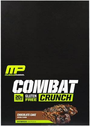 MusclePharm, Combat Crunch, Chocolate Cake, 12 Bars, 2.22 oz (63 g) Each ,والرياضة، والبروتين أشرطة