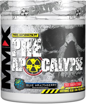 MuscleMaxx, PRE APOCALYPSE, Pre-Workout, Arginine + Taurine + Creatine + Beta-Alanine, Blue Wraithberry, 11.28 oz (320 g) ,والصحة، والطاقة، والرياضة