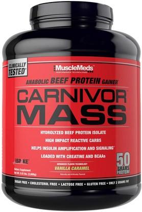 MuscleMeds, Carnivor Mass, Anabolic Beef Protein Gainer, Vanilla Caramel, 5.93 lbs (2,688 g) ,المكملات الغذائية، المكملات الابتنائية، والبروتين