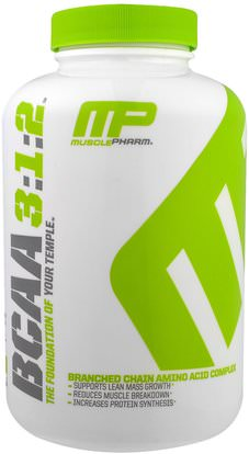 MusclePharm, BCAA 3:1:2, 240 Capsules ,المكملات الغذائية، والأحماض الأمينية، بكا (متفرعة سلسلة الأحماض الأمينية)، والرياضة، والعضلات