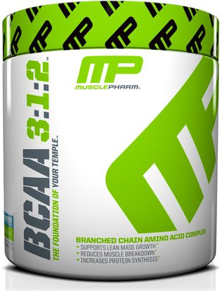 MusclePharm, BCAA 3:1:2, Blue Raspberry, 0.5 lbs (225 g) ,والمكملات، والأحماض الأمينية، بكا (متفرعة سلسلة الأحماض الأمينية)، والرياضة، تجريب