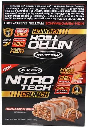 Muscletech, Nitro Tech Crunch Bars, Cinnamon Bun, 12 Bars, 2.29 oz (65 g) Each ,الرياضة بروتين، الرياضة، بروتين أشرطة