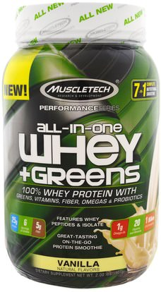 Muscletech, Performance Series, All-In-One Whey + Greens, Vanilla, 2.00 lbs (907 g) ,رياضات