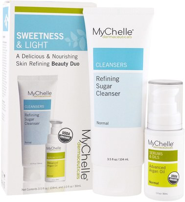 MyChelle Dermaceuticals, Organic, Sweetness & Light Kit, Refining Sugar Cleanser, Advanced Argan Oil, 2 Products, 3.5 fl oz (104 ml), 1.0 fl oz (30 ml) ,الجمال، العناية بالوجه، الكريمات المستحضرات، الأمصال، منظفات الوجه