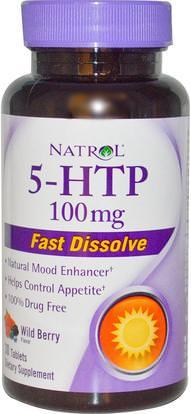 Natrol, 5-HTP, Wild Berry Flavor, 100 mg, 30 Tablets ,المكملات الغذائية، 5-هتب، 5-هتب 100 ملغ