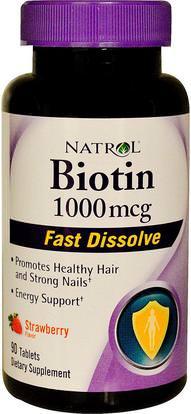 Natrol, Biotin, Fast Dissolve, Strawberry Flavor, 1,000 mcg, 90 Tablets ,الفيتامينات، فيتامين ب، البيوتين