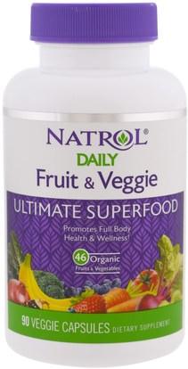 Natrol, Daily Fruit & Veggie, Ultimate Superfood, 90 Veggie Caps ,والمكملات الغذائية، والفواكه السوبر