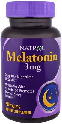 Natrol, Melatonin, 3 mg, 240 Tablets ,والمكملات الغذائية، والنوم، الميلاتونين