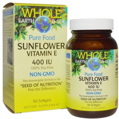 Natural Factors, Whole Earth & Sea, Sunflower Vitamin E, 400 IU, 90 Softgels ,الفيتامينات، فيتامين e