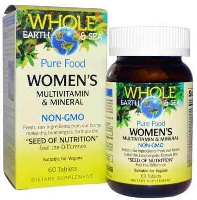 Natural Factors, Whole Earth & Sea, Womens Multivitamin & Mineral, 60 Tablets ,الفيتامينات، النساء الفيتامينات