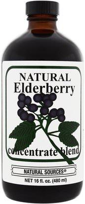 Natural Sources, Natural Elderberry Concentrate, 16 fl oz (480 ml) ,الغذاء، القهوة الشاي والمشروبات، عصير الفواكه، الصحة، إلدربيري (سامبوكس)