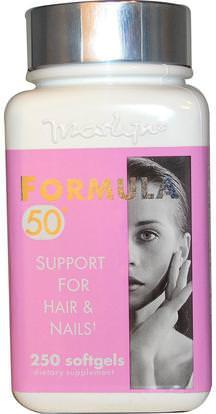 Naturally Vitamins, Marlyn, Formula 50, Support For Hair & Nails, 250 Softgels ,الصحة، المرأة، مكملات الشعر، مكملات الأظافر، مكملات الجلد