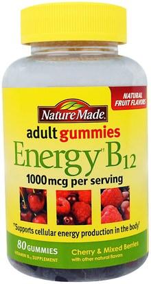 Nature Made, Adult Gummies, Energy B12, Cherry & Mixed Berries, 80 Gummies ,المكملات الغذائية، غوميس، فيتامين ب، فيتامين ب 12، فيتامين B12 - سيانوكوبالامين