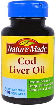 Nature Made, Cod Liver Oil, 100 Softgels ,المكملات الغذائية، المضادات الحيوية، الثوم، الصحة، صحة الكبد