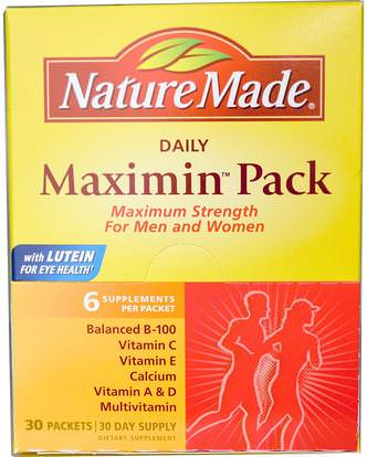 Nature Made, Daily Maximin Pack, Multivitamin and Mineral, 6 Supplements Per Packet, 30 Packets ,الفيتامينات، الفيتامينات