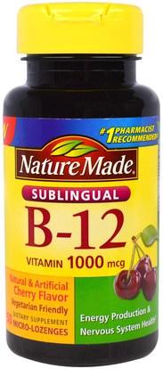 Nature Made, Sublingual B-12, 1000 mcg, 50 Micro - Lozenges ,الفيتامينات، فيتامين b12، فيتامين b12 - سيانوكوبالامين
