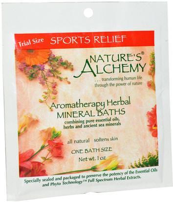 Natures Alchemy, Aromatherapy Herbal Mineral Baths, Sport Relief, Trial Size, 1 oz ,حمام، الجمال، أملاح الاستحمام