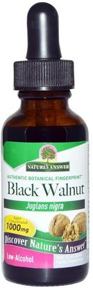 Natures Answer, Black Walnut, Low Alcohol, 1000 mg, 1 fl oz (30 ml) ,الأعشاب، الجوز الأسود