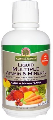 Natures Answer, Liquid Multiple Vitamin & Mineral, Natural Mango Flavor, 16 fl oz (480 ml) ,الفيتامينات، الفيتامينات المتعددة، الفيتامينات السائلة