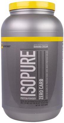 Natures Best, IsoPure, Protein Powder, Zero Carb, Banana Cream, 3 lbs (1.36 kg) ,Herb-sa