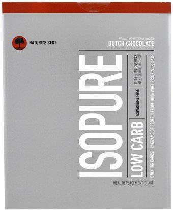 Natures Best, IsoPure, IsoPure, Low Carb Protein Powder, Dutch Chocolate, 20 Packets, 2.24 oz (66 g) Each ,والمكملات الغذائية، والهدايا استبدال وجبة، والبروتين، بروتين الرياضة